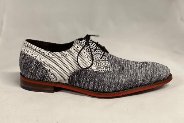 Van bommel 18107/08 Heren geklede schoen wit en zwart